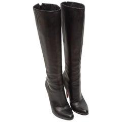 Christian Louboutin Black Knee-High Bourge 100 Boots