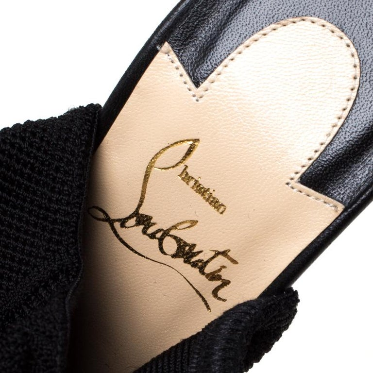 Christian Louboutin Black Knit Fabric Cheminetta Sock Thigh High Boots Size 37 For Sale 3