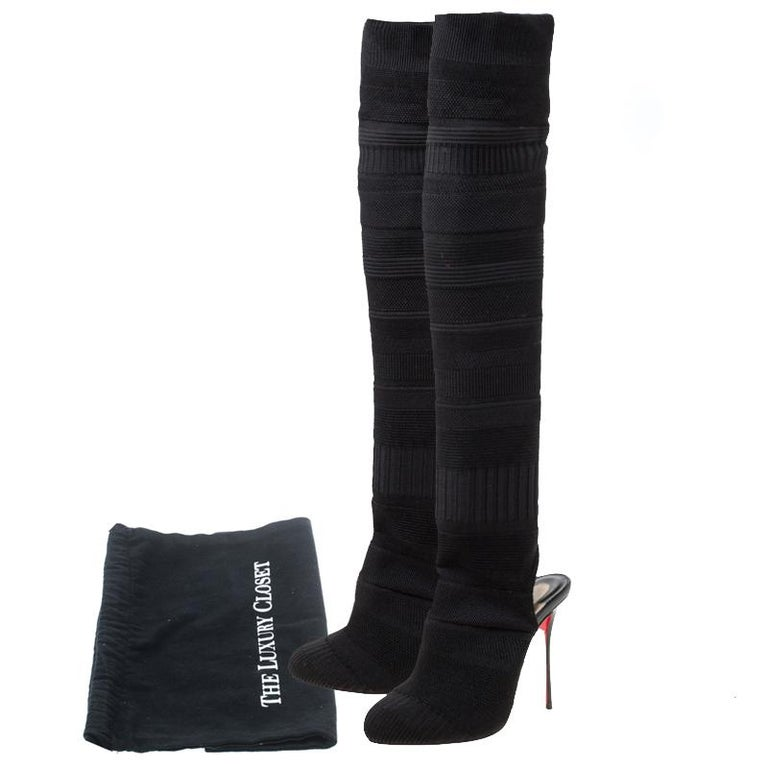 Christian Louboutin Black Knit Fabric Cheminetta Sock Thigh High Boots Size 37 For Sale 4