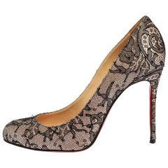 Christian Louboutin Black Lace And Satin Very Prive Round Toe Pumps Size 39