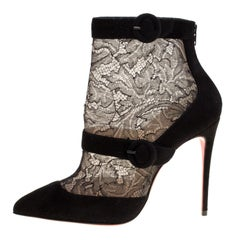 Christian Louboutin Black Lace and Suede Boteboot Pointed Toe Booties Size 36
