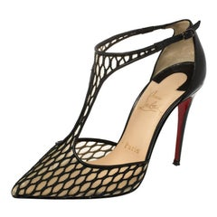 Christian Louboutin Black Lace Salonu Pointed Toe T Strap Sandals Size 36