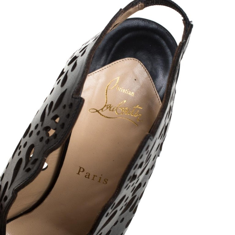 Christian Louboutin Black Lasercut Leather Markesling Slinback Sandals Size 40 For Sale 3