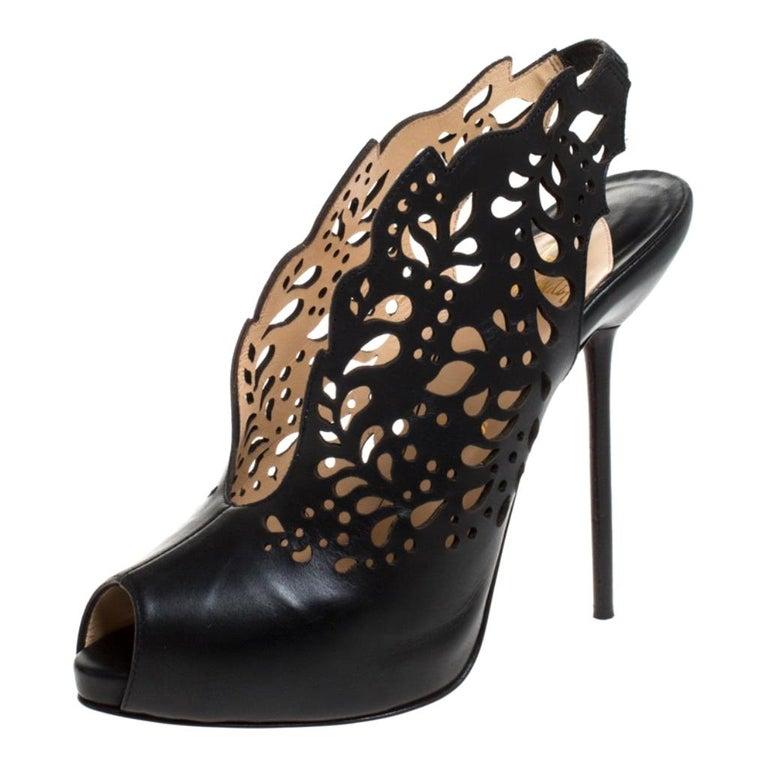 Christian Louboutin Black Lasercut Leather Markesling Slinback Sandals Size 40 For Sale