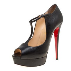 Christian Louboutin Black Leather Alta Poppins T Strap Peep Toe Platfrom Pumps S