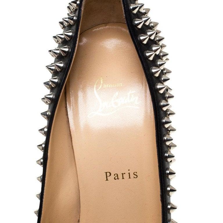 Christian Louboutin Black Leather Alti Spike Platform Pumps Size 39 For Sale 2