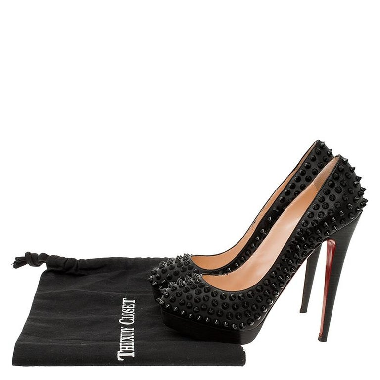 Christian Louboutin Black Leather Alti Spikes Platform Pumps Size 37.5 For Sale 8