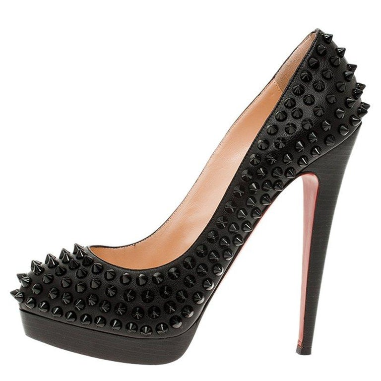 Women's Christian Louboutin Black Leather Alti Spikes Platform Pumps Size 37.5 For Sale