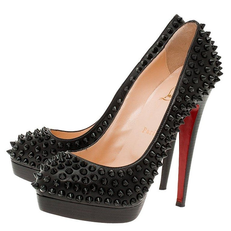 Christian Louboutin Black Leather Alti Spikes Platform Pumps Size 37.5 For Sale 2