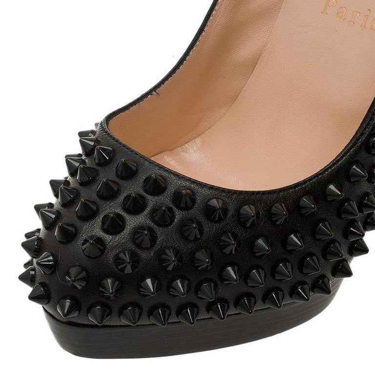 Christian Louboutin Black Leather Alti Spikes Platform Pumps Size 37.5 For Sale 5