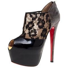 Christian Louboutin Black Leather And Lace Lamé Aeronotoc Peep Toe Size 36.5