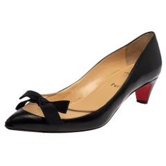 Christian Louboutin Black Leather And Mesh Minima Pumps Size 38.5