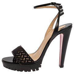 Christian Louboutin Black Leather And Mesh Volumetric Ankle Strap Sandals Size 3
