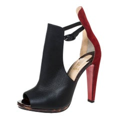 Christian Louboutin Black Leather and Suede Barabara Cutout Ankle Boots Size 38