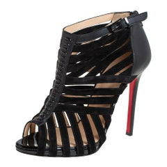 Christian Louboutin Black Leather And Suede Caged Karina Ankle Booties Size 39