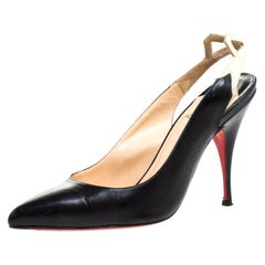 Christian Louboutin Black Leather And White Bow Slingback Pointed Toe Size 36