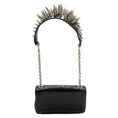 f9c478dfe Christian Louboutin Black Leather Artemis Spike Stud Python Bag one size