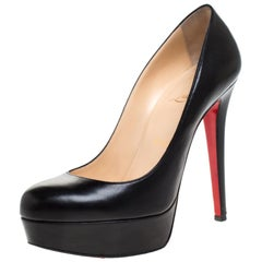 Christian Louboutin Black Leather Bianca Platform Pumps Size 37.5