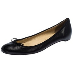 Christian Louboutin Black Leather Bow Ballet Flats Size 40.5
