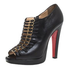 Christian Louboutin Black Leather Buckle Detail Open Toe Ankle Boots Size 38