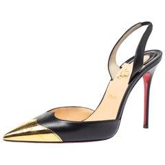 Christian Louboutin Black Leather Calamijane Cap Toe Slingback Sandals Size 38.5