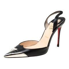 Christian Louboutin Black Leather Calamijane Slingback Sandals Size 37.5
