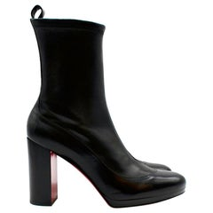 Christian Louboutin Black Leather Contrevent 100 Heeled Ankle Boots Size EU 39.5