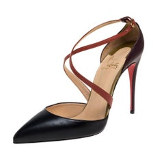 Christian Louboutin Black Leather Cross Strap D'orsay Pumps Size 38.5