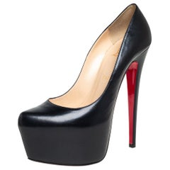 Christian Louboutin Black Leather Daffodile Platform Pumps Size 39