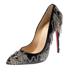 Christian Louboutin Black Leather Dolly Pointed Toe Pump Size 37.5