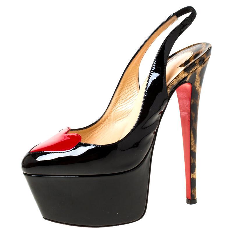 Christian Louboutin Black Leather Doracora Platform Slingback Sandals Size 37.5