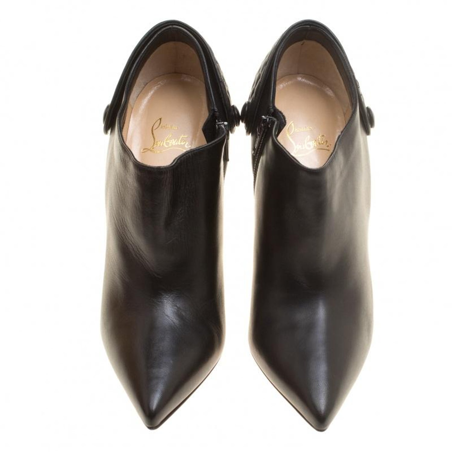 80cb6a5cdcc4 Christian Louboutin Black Leather Huguette Pointed Toe Ankle Booties Size 41  For Sale at 1stdibs