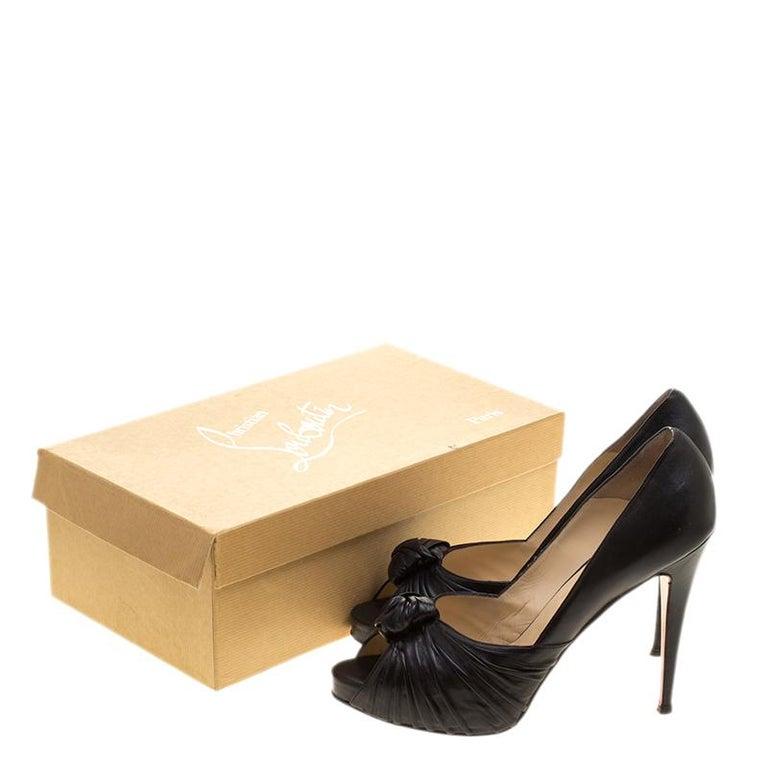 Christian Louboutin Black Leather Lady Gres Peep Toe Platform Pumps Size 42 For Sale 4