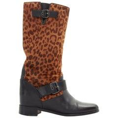 CHRISTIAN LOUBOUTIN black leather leopard calf hair flat tall Moto boot EU35
