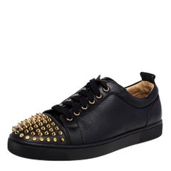 Christian Louboutin Black Leather Louis Junior Spike Low Top Sneakers Size 42