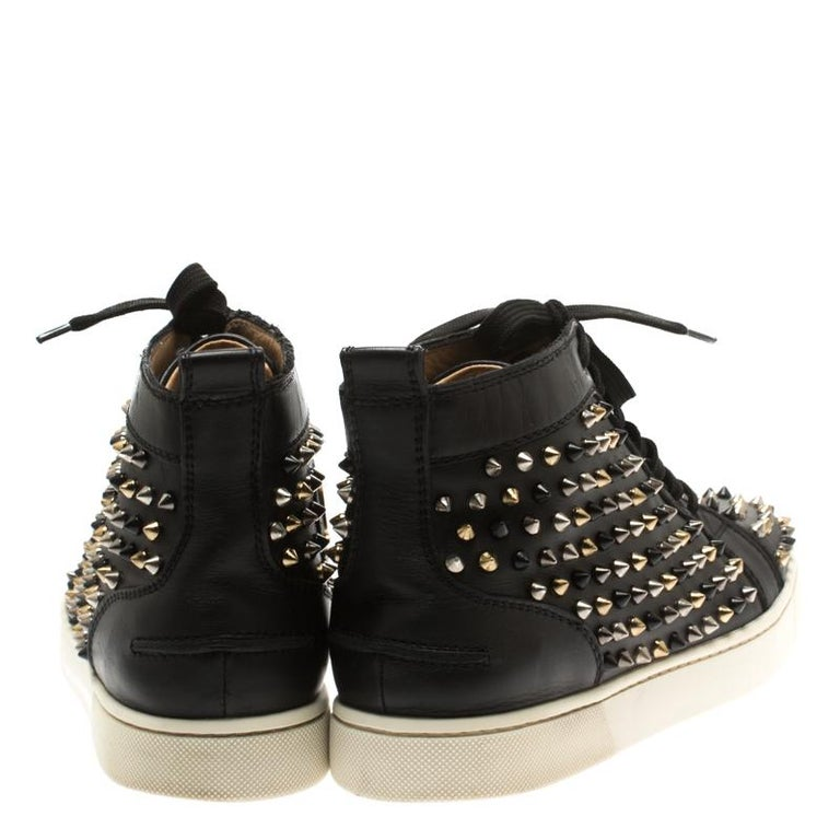 buy online 31704 452fb Christian Louboutin Black Leather Louis Spikes High Top Sneakers Size 41.5