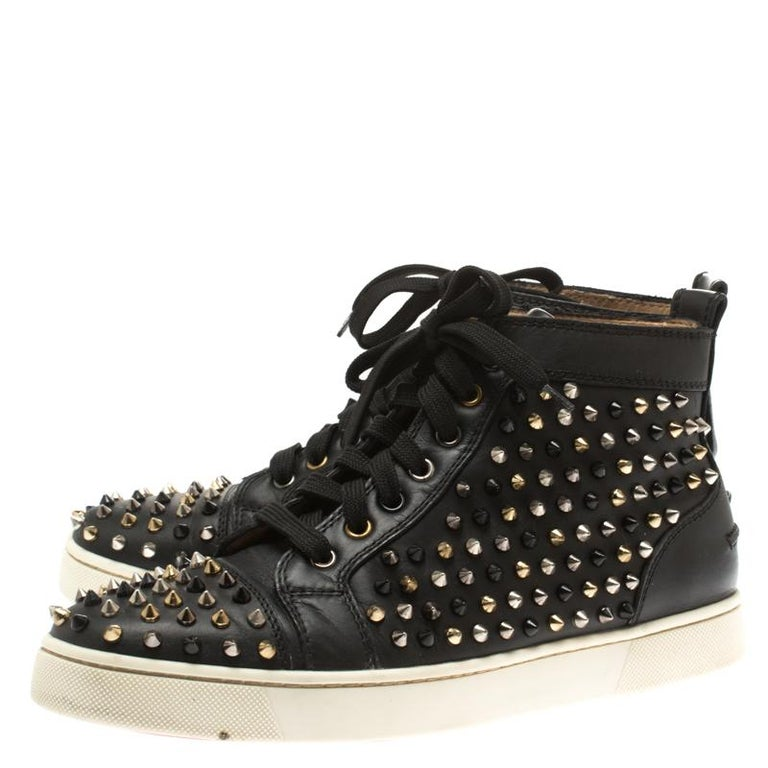 buy online c6a39 87efd Christian Louboutin Black Leather Louis Spikes High Top Sneakers Size 41.5