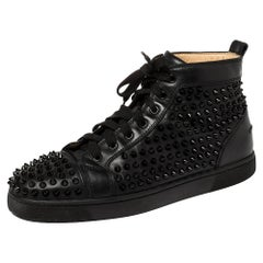 Christian Louboutin Black Leather Louis Spikes High Top Sneakers Size 42