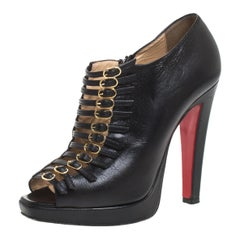 Christian Louboutin Black Leather Manon Buckle Open Toe Ankle Boots Size 38