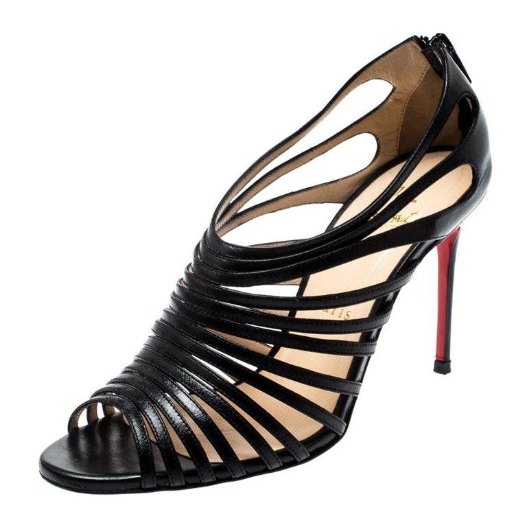 online store e5dc7 6fdca Christian Louboutin Black Leather Mul Tibrida Strappy Sandals Size 37