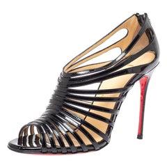 Christian Louboutin Black Leather Mul Tibrida Strappy Sandals Size 38
