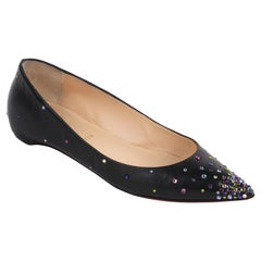 CHRISTIAN LOUBOUTIN Black Leather Multicolor Crystal Pointed Toe Ballet Flats