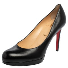 Christian Louboutin Black Leather New Simple Pumps Size 39.5
