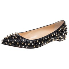 Christian Louboutin Black Leather Pigalle Spike Ballet Flats Size 35.5