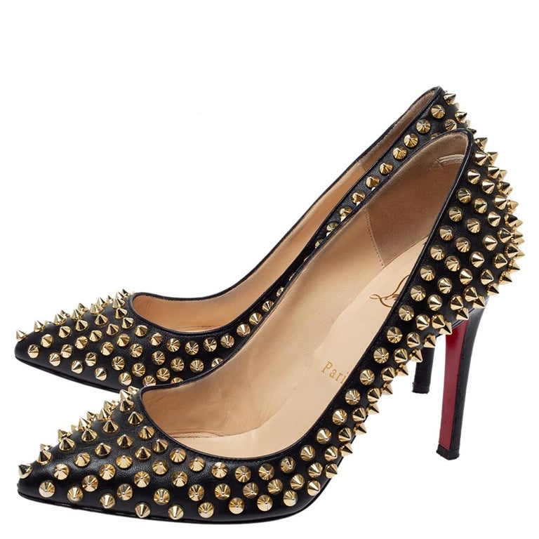 Christian Louboutin Black Leather Pigalle Spikes Pointed Toe Pumps Size 36.5 For Sale 1