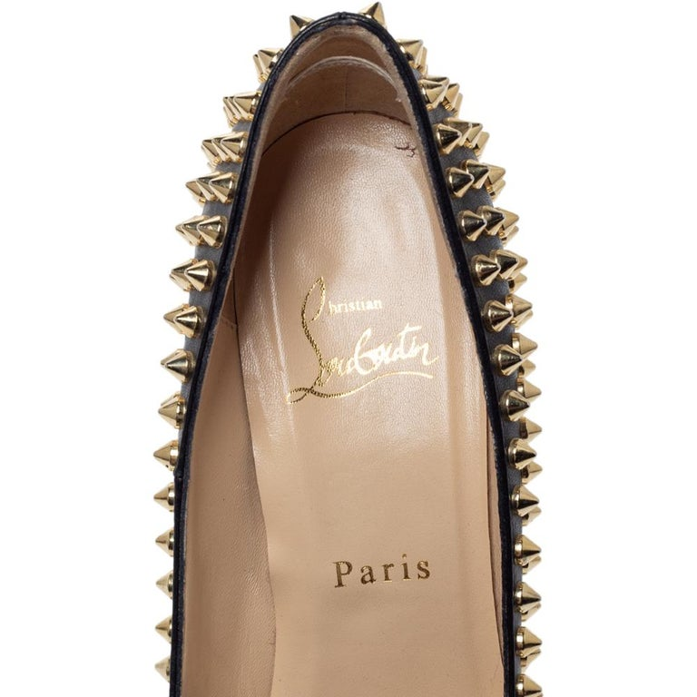 Christian Louboutin Black Leather Pigalle Spikes Pointed Toe Pumps Size 36.5 For Sale 2