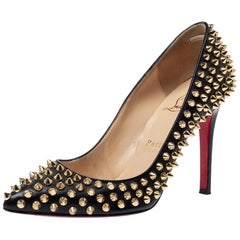 Christian Louboutin Black Leather Pigalle Spikes Pointed Toe Pumps Size 36.5