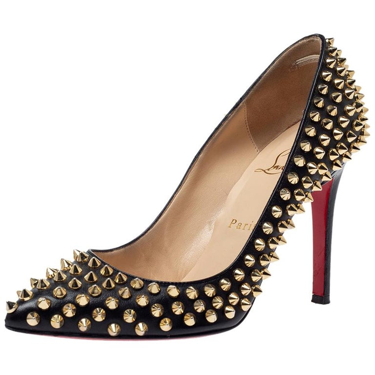 Christian Louboutin Black Leather Pigalle Spikes Pointed Toe Pumps Size 36.5 For Sale