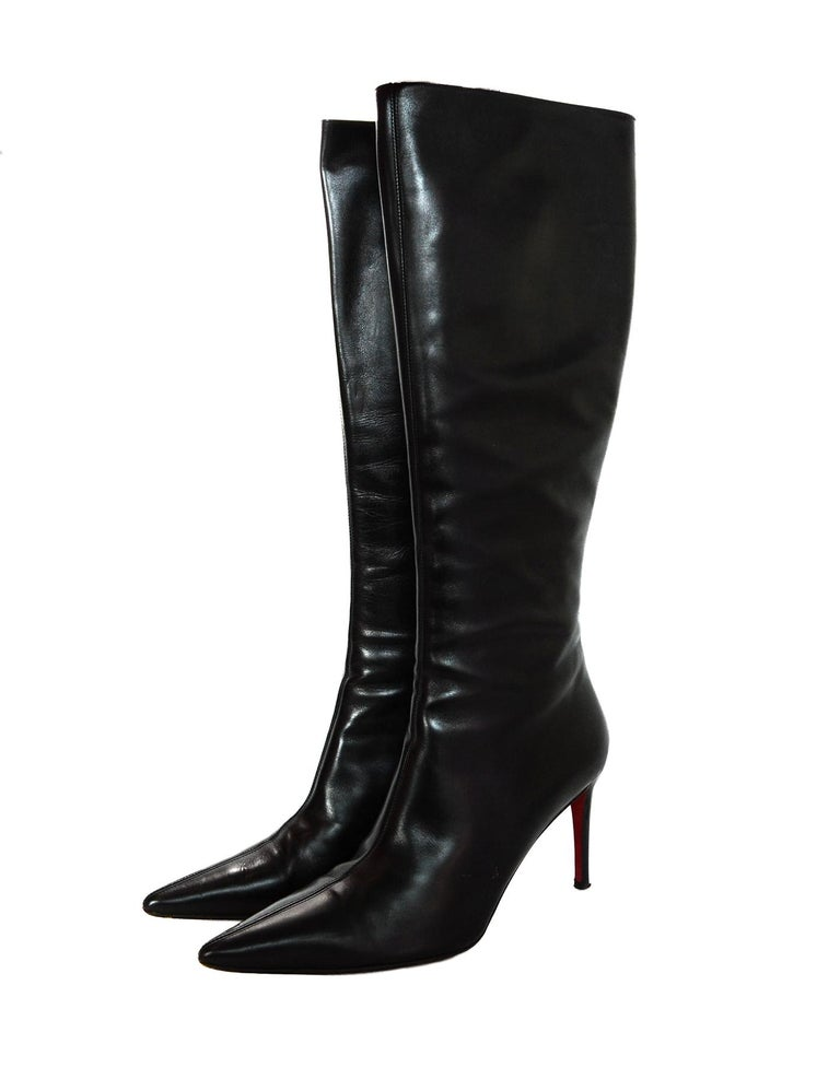 b1888e2e54a2 Christian Louboutin Black Leather Point Toe Boots Sz 40 In Excellent  Condition For Sale In New