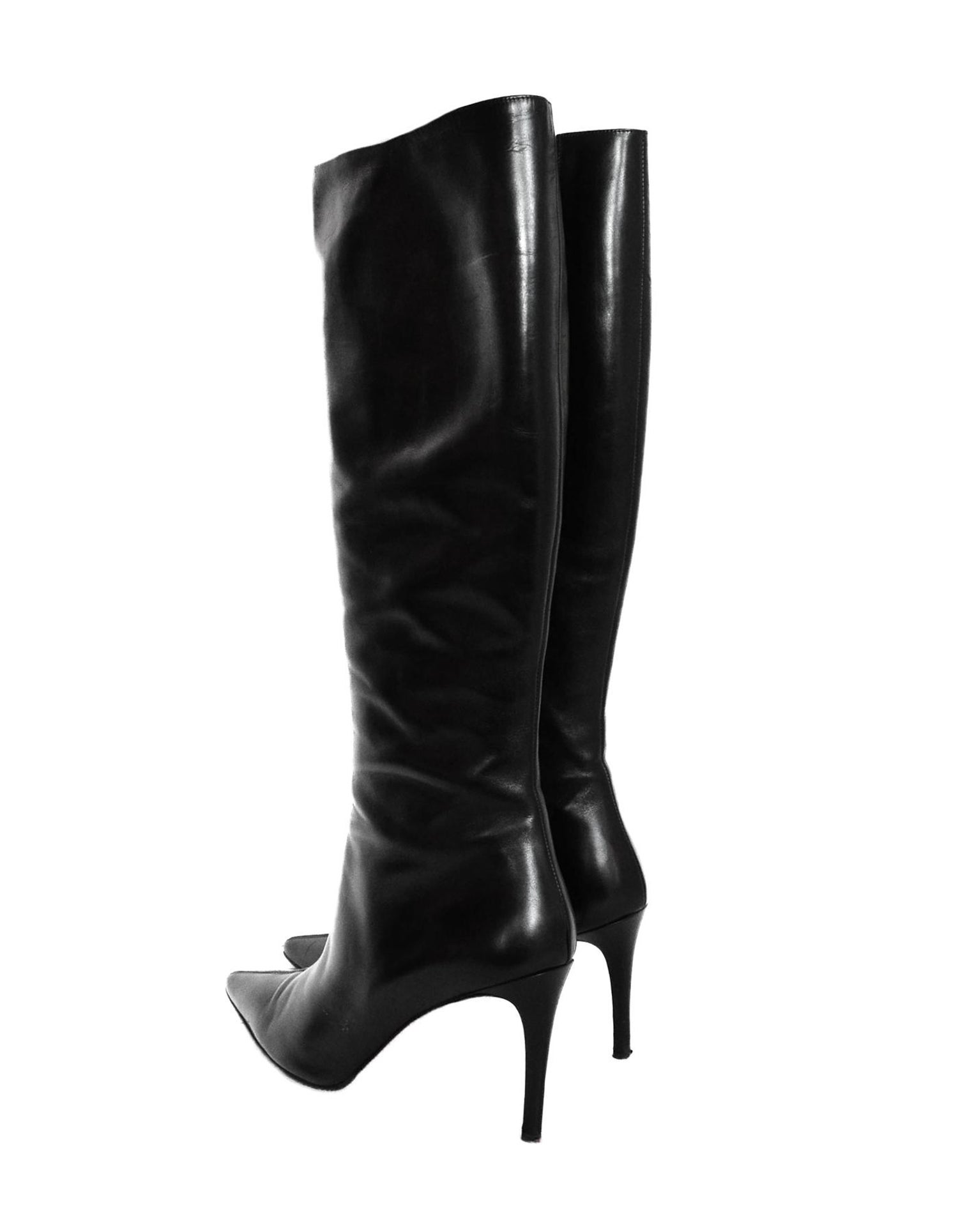 efdcf21f9f63 Christian Louboutin Black Leather Point Toe Boots Sz 40 For Sale at 1stdibs